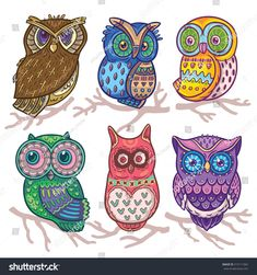 Find Cartoon Funny Set Cute Owls Vector stock images in HD and millions of other royalty-free stock photos, illustrations and vectors in the Shutterstock collection. Owl Tattoo Design, Owl Background, Background Patterns, Owl Vector, Vector Hand, Vector Stock, Cute Owls Wallpaper, Owl Artwork, Outline Drawings