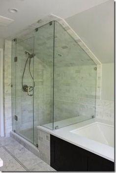 Bathroom decor for your bathroom remodel. Discover bathroom organization, bathroom decor ideas, bathroom tile ideas, bathroom paint colors, and more. Attic Shower, Small Attic Bathroom, Small Bathroom Layout, Loft Bathroom, Upstairs Bathrooms, Bathroom Renos, Shower Tub, Bathroom Renovations, Bathroom Ideas
