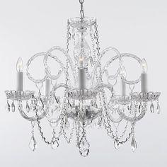 Gallery 385-5 5 Light 1 Tier Murano Venetian Style All-Crystal Chandelier Clear Indoor Lighting Chandeliers