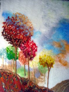 felted wall art, contemporary abstract trees,large textile on canvas,  pastel park  $160.16