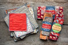 Country Potholders:  two squares of denim on the inside, two squares of nice fabric on the outside, every edge pinked, all right sides out, sew together with three rows at the edge and one quilting row an inch or so in, wash, trim, use or wrap.