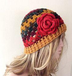 SALE Handmade Colorful  Granny Crochet Beanie Boho by Periay