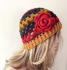 SALE Handmade Colorful  Granny Crochet Beanie Boho by Periay