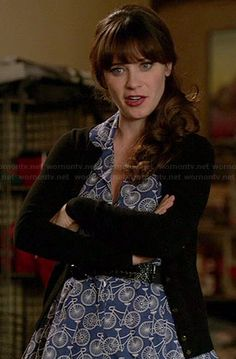 Jess's blue bicycle print dress on New Girl.  Outfit Details: http://wornontv.net/45119/ #NewGirl