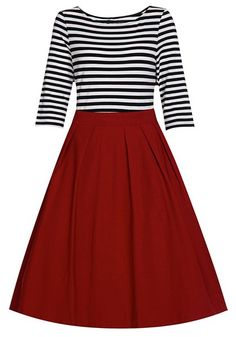 Graceful Round Neck 3/4 Sleeve Striped A-Line Dress For Women