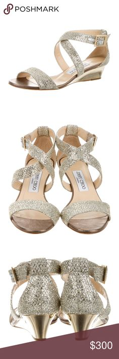Jimmy Choo Chiara edge sandals Metallic silver/gold canvas Jimmy Choo ankle strap sandals with glitter detail throughout, resin heels and buckle closure at side. Includes box and dust bag. Didn't get to wear them for my wedding, bought pre-owned off RealReal. Size 6/EU 36. Jimmy Choo Shoes Sandals