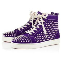 Christian Louboutin Louis Spikes Mens Flat Violette Silver
