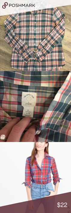 J. Crew The perfect shirt In great condition... last picture is same shirt but in red. Shown for example of style. J. Crew Tops Button Down Shirts