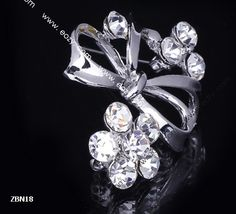 4x4cm Slivery Noble Flower Bowknot Crystal Breastpin Hair brooch Rhinestone #eozy