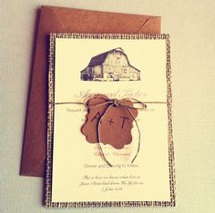 Love the idea of having burlap behind the invitation. Instead of the centered brown paper, add lace. & instead of barn, a wedding tree?