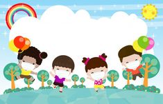Kids Background, Cartoon Background, Happy Children's Day, Happy Kids, Play Run, Back To School Art, Kids Climbing, Page Borders Design, Powerpoint Background Design