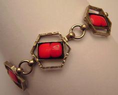 stylisches Glieder - ARMBAND silberf. mit rot/schwarzer EMAILLE 60er 70er Design