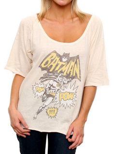 Batman Vintage Triblend Slouch Raglan - Women's Collections - Superheroes - All - Junk Food Clothing