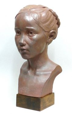 Terracotta Children Child Babies Infants Toddlers Kids sculpture statuettes figurines sculpture by sculptor Tristan MacDougall titled: 'Child Portrait (Head Bust Face Likeness Commission Bespoke statue)' - Artwork View 3