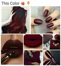 Want to paint my room this color <3 Matte Burgundy Lipstick, Dark Maroon Lipstick, Maroon Makeup, Red Matte Nails, Vampy Lipstick, Lipsticks, Dark Maroon Hair, Oxblood Nails, Gel Nails