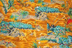VINTAGE 60'S WAIKIKI 76 ALOHA HAWAIIAN CAMP SHIRT Catamarans Palms MENS Medium #Waikiki76 #Hawaiian