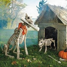 Outdoor Halloween Decorations Skeleton Dogs and Haunted House   Awesome for the yard!