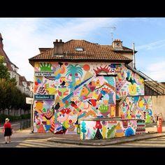 New mural by @zosenbandido and @mina_hamada in Besançon (France) for @bienurbain festival #streetartofficial #minahamada #zosenbandido  #streetphotography #buildinggraffiti #graffitiart #art #streetart #primeshots #instagraffiti #street #instaart #animation #urban #wallart #spraypaint #spraycanart #spray #wall #arte #colour #illustration #streetartistry #artist #grafiti #urbanart  #streetarteverywhere