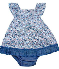 Plum Denim Floral Story - 2 Piece Floral Dress/ Brief Set - Baby and Childrens Clothing Baby Boutique Clothing, Cotton Dresses, 12 Months, Plum, Cotton Fabric, Age, Denim, Floral, Girls