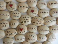 Ceramic pocket stones, Pocket Pebbles Message Stones Affirmation Stones Encouragement Words Meditation Stones Altar Words Positive Namaste