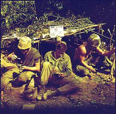 Vietnam War Picture - Soldiers Eating and Writing a Letter in Vietnam