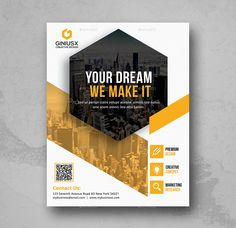 Buy Business Flyer by GeniusPoint on GraphicRiver. Features: Easy Customizable and Editable Corporate Flyer in with bleed CMYK Color Design in 300 DPI Reso. Powerpoint Design Templates, Business Flyer Templates, Brochure Template, Page Layout Design, Web Design, Corporate Flyer, Corporate Design, Business Brochure, Business Card Design
