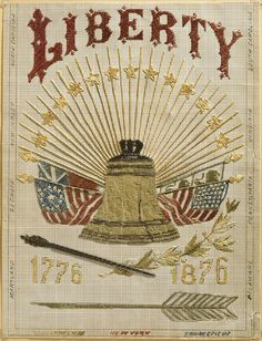 Philadelphia Museum of Art - Collections Object : Sampler.Silk on Paper and satin, Dimensions: 14 x in x cm), American; Vintage Cards, Vintage Signs, Vintage Images, American Flag, American History, Patriotic Images, I Love America, Liberty, Let Freedom Ring