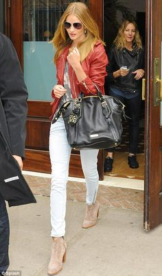 Who made Rosie Huntington-Whiteley's skinny jeans, red leather jacket, black handbag and tan boots that she wore in New York on March Fashion Outfits, Womens Fashion, Fashion Trends, Fashion 2014, Fashion Styles, Fashion Ideas, High Fashion Models, Biker Chic, Leather Fashion