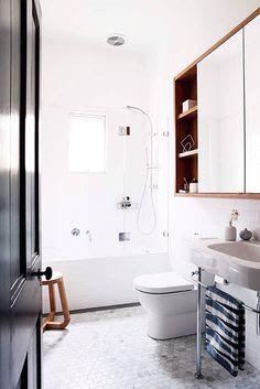 Image result for recessed shaving cabinet timber shelves