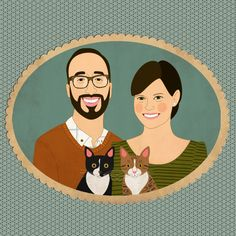 Etsy Pet Family Portraits, What's better than a photo of you and your pet, a portrait.