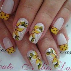 Unhas decoradas com flores 2014 11                                                                                                                                                                                 Mais Cute Nails, Pretty Nails, My Nails, Spring Nails, Summer Nails, Flower Nail Art, Nail Arts, Manicure And Pedicure, Beauty Nails