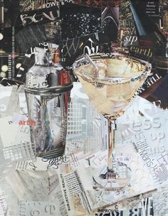 These collages are made entirely of magazine scraps! Paper Collage Art, Collage Artwork, Collage Artists, Mixed Media Collage, Wall Collage, Magazine Wall, Magazine Collage, Collages, Art Cart