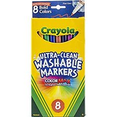 Amazon Com Crayola 8 Count Washable Markers Bold Colors Fine Tip