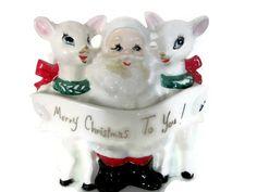 Vintage Christmas 1950's Ceramic Santa and by ThirstyOwlVintage