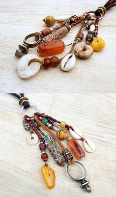 necklaces by Brigitte of Bacacara Jewelry | Vintage African Trade Beads, Tuareg zinder cross, shells, stone, glass beads, silver and leather