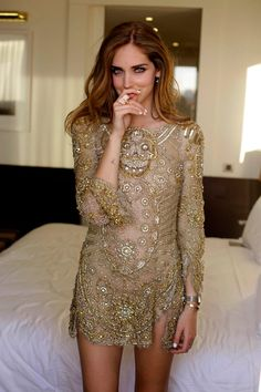Theblondesalad.com, gold cocktail dress