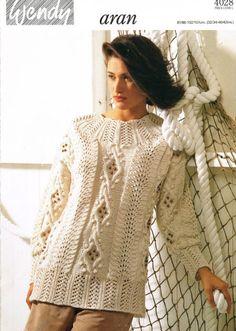 Wendy 4028 ladies aran jumper vintage knitting pattern Listing in the Ladies DK,Patterns,Knitting & Crochet,Crafts & Sewing Category on eBid United Kingdom