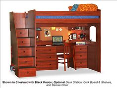 Gentil Berg Furniture Utica Full Size Loft Staircase Bed With Optional Large  Student Desk 23 905