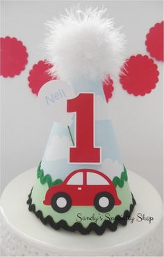 Little Red Car Party Hat -Transportation Party - Blue Cloud, Red, Green, Black - Personalized 2nd Birthday Party For Boys, 1st Birthday Party Supplies, Elmo Birthday, Cars Birthday Parties, Baby Boy Birthday, Dinosaur Birthday, Auto Party, Car Party, Car Themed Parties
