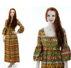 60s Abstact Hawaiian Dress Psychedelic Maxi by neonthreadsdesigns, $46.00