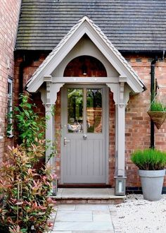 The English Porch Company produce a range of bespoke and traditional wooden porches, porch kits, porch frames, oak framed porches and canopy porches. Cottage Front Porches, Cottage Front Doors, Cottage Windows, House Front Porch, Porch Doors, Front Porch Design, Small Porches, Porch Entrance, Brick Cottage