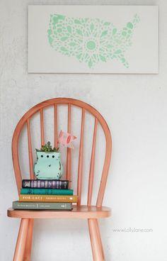 Pretty mint stencil United States sign, easy home decor tutorial. @Lauren Jane Jane {lollyjane.com}