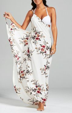 This sarong wrap cover up dress features allover floral print, and spaghetti shoulder straps. It is a multiway cover up dress that can serve as a sarong, a beach dress, a cover up as well as a beach throw. Chiffon Floral, Chiffon Fabric, Sarong Wrap, Sarong Dress, Maxi Dresses, Beach Dresses, Summer Dresses, Swimsuit Cover Ups, Swim Cover