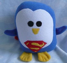 Plush Superman Penguin Pillow Pal PLACE YOUR by AnitaKleinDesigns, $22.00