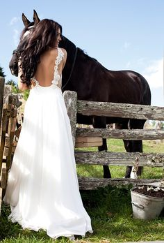 Long White Backless Wedding Dress