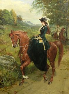 Elegant Young Woman on a Horse - Samuel Edmund Waller