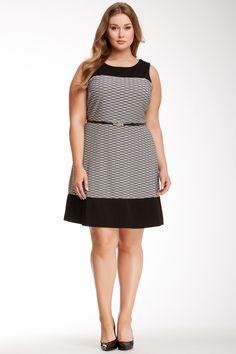 Sandra Darren Sleeveless Contrast Texture Dress (Plus Size) on HauteLook