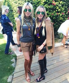 Southern California Festival: Juicy Couture founders-turned-eponymous label designers Pam & Gela hanging at the #TZRxDVoasis