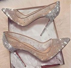cinderella stiletto heels / glitter pumps / women's shoes from Louboutin Cute Shoes, Me Too Shoes, Pretty Shoes, Prom Heels, Sparkly Heels, Wedding High Heels, Sparkly Wedding Shoes, Silver High Heels, Shoes For Prom