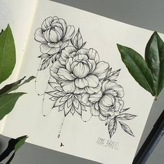Beautiful flower tattoo drawing!
